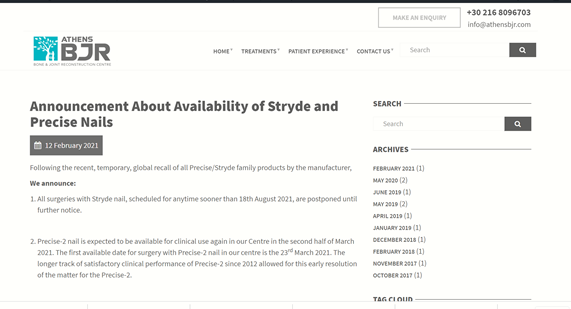 Announcement About Availability of Stryde and Precise Nails